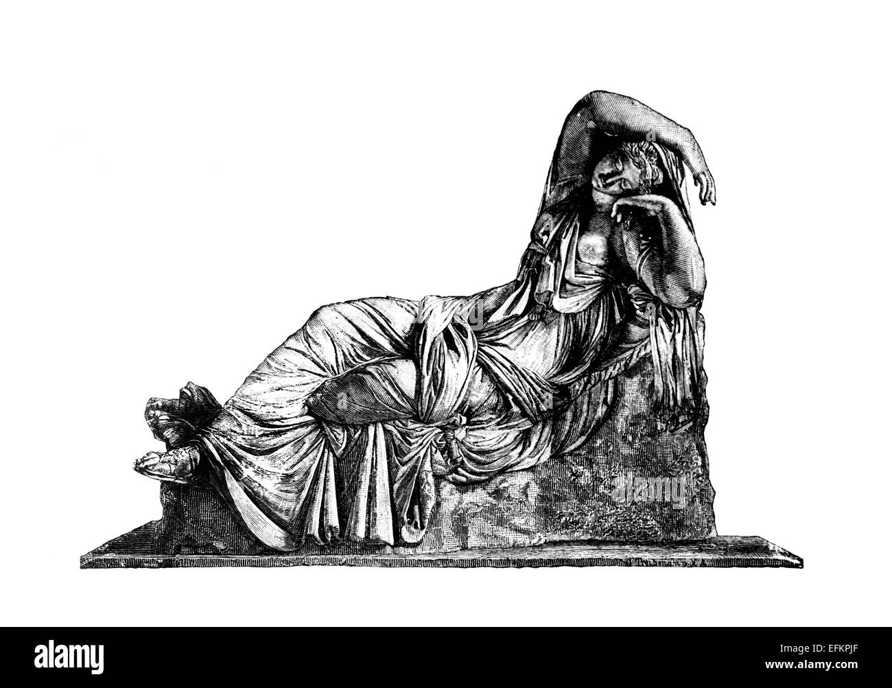 Victorian engraving of the sculpture Sleeping Ariadne. Digitally restored image from a mid-19th century Encyclopaedia. Stock Photo