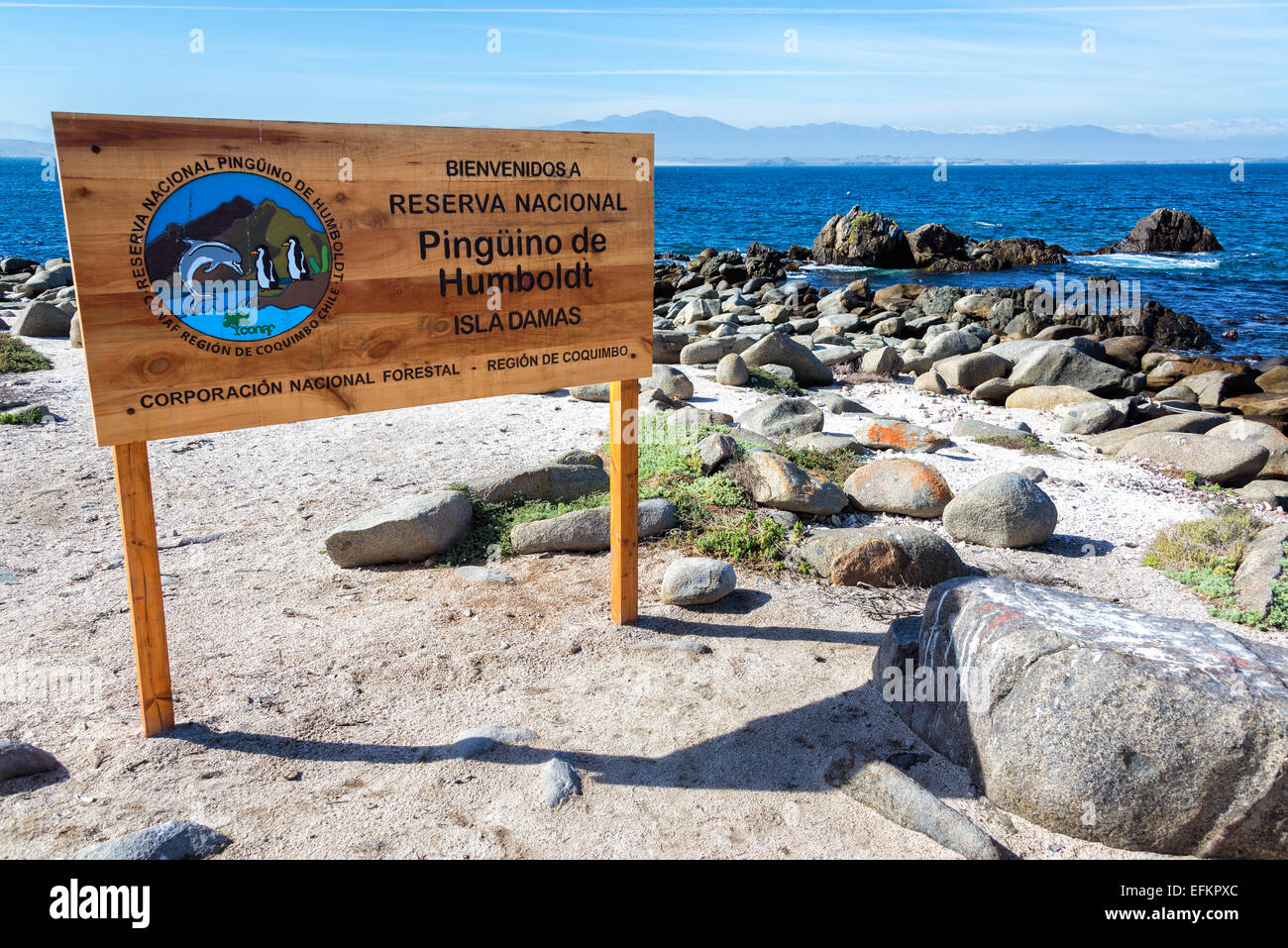 Sign for the Humbolt Pinguin National Reserve in Chile Stock Photo