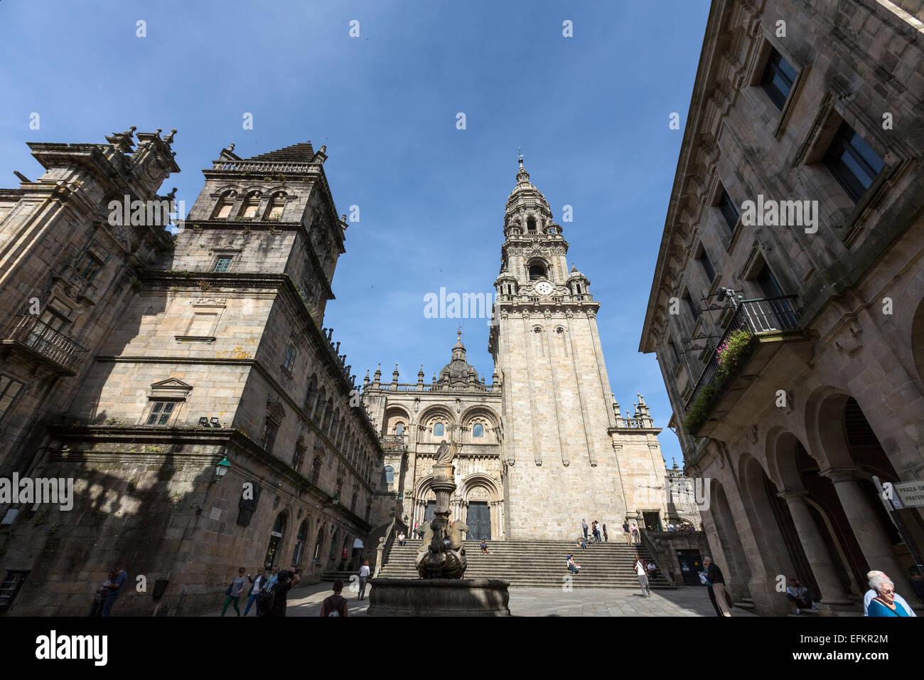 Praza das Praterías one of the squares outside Santiago Cathedral,Old Town  Santiago de Compostela - Stock Image