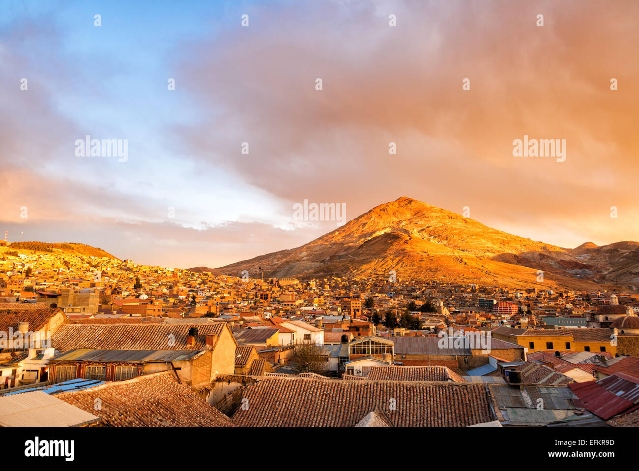 Potosi, Bolivia at sunset with Cerro Rico in the background - Stock Image