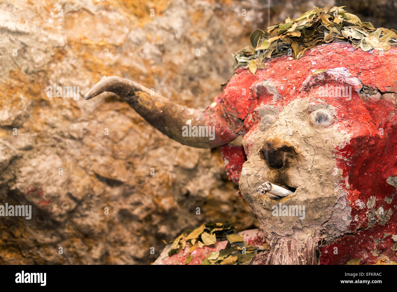 El Tio, idol that miners in the mines in Potosi, Bolivia worship - Stock Image