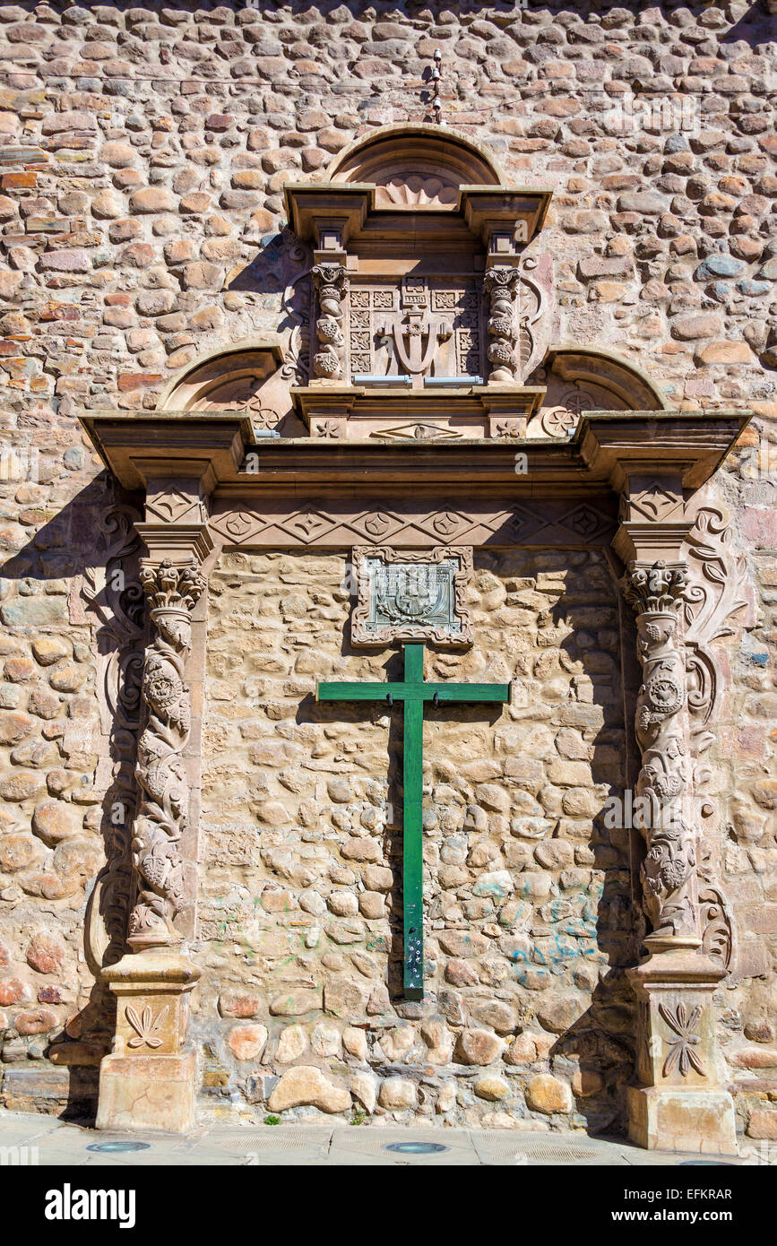 Green cross on the side of San Francisco church in Potosi, Bolivia - Stock Image