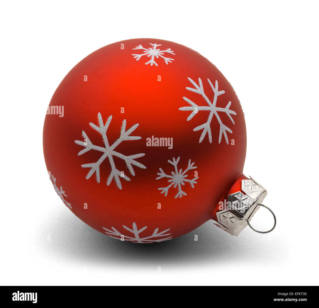 Glass Christmas Bulb with Snow Flakes Isolated on White Background. - Stock Image