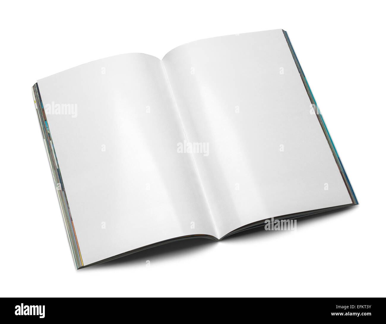 Open Magazine with Copy Space Isolated on White Background. - Stock Image
