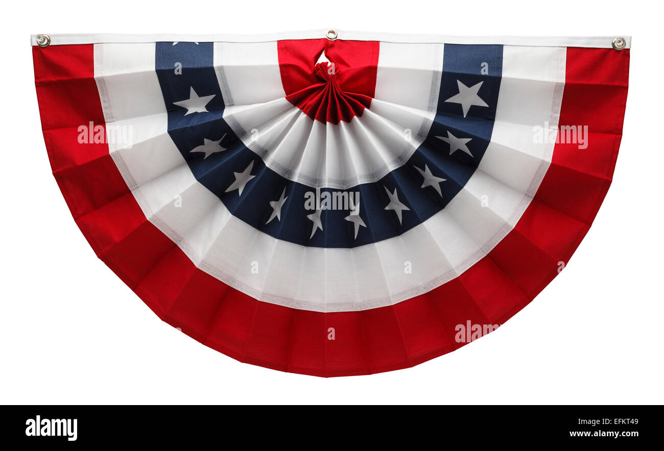 Stars and Stripes USA Pleated Bunting Isolated on White Background. - Stock Image