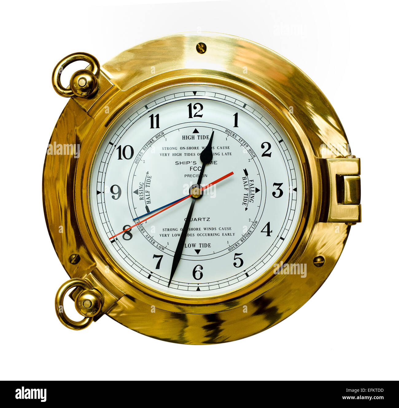 brass ships time and tide clock Stock Photo