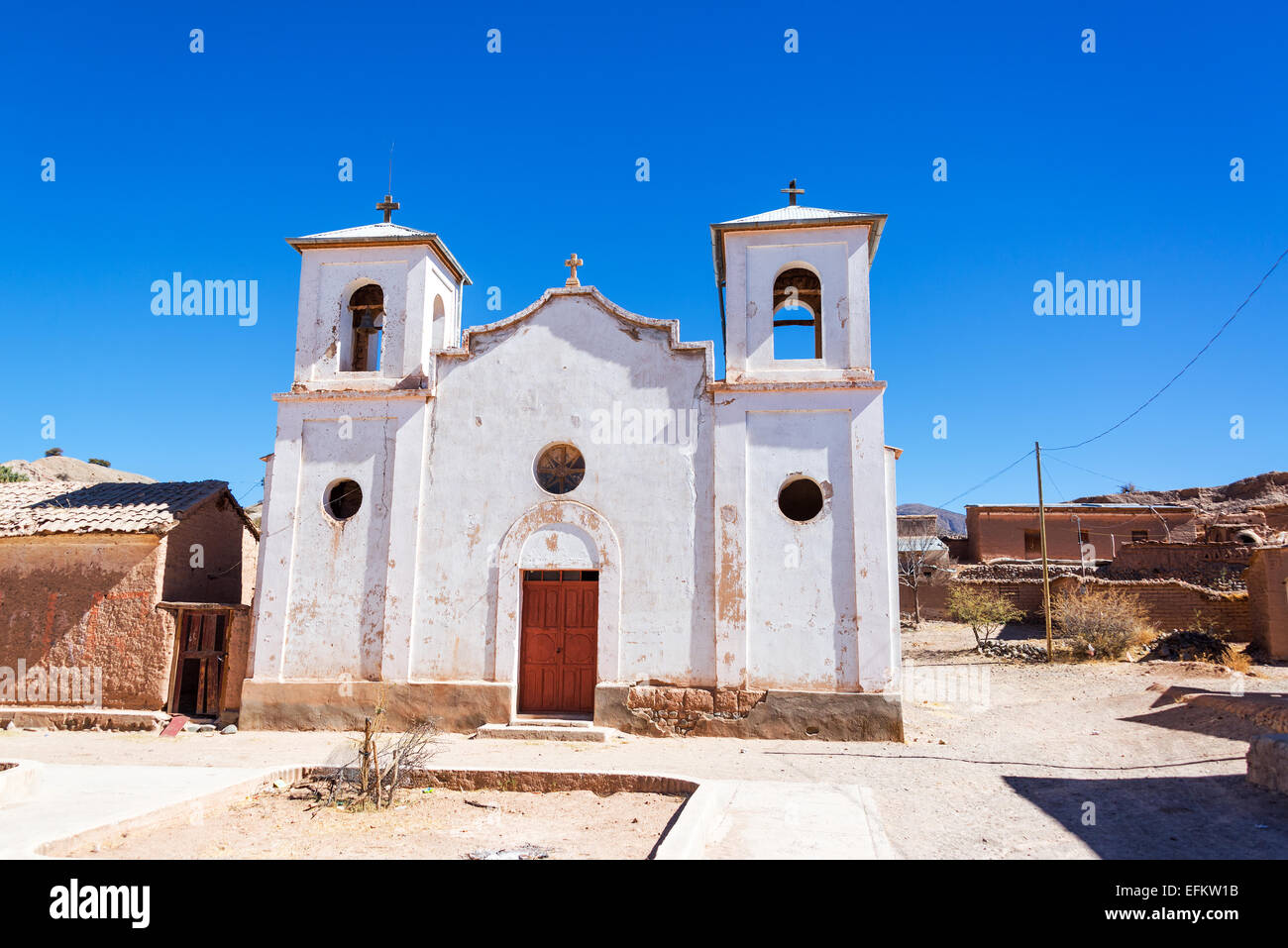 White old historic church in the small town of Chacopampa near Tupiza, Bolivia Stock Photo