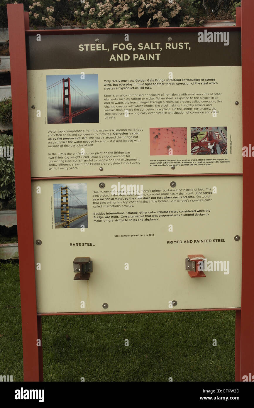 Information board outlining effects of steel, fog, salt