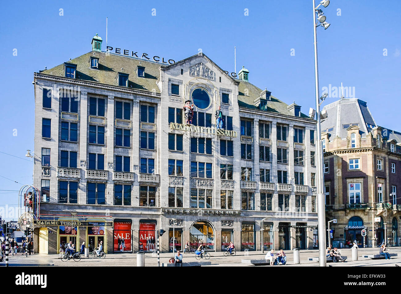 Madame Tussaud wax museum and Peek and Cloppenburg department store, Amsterdam - Stock Image