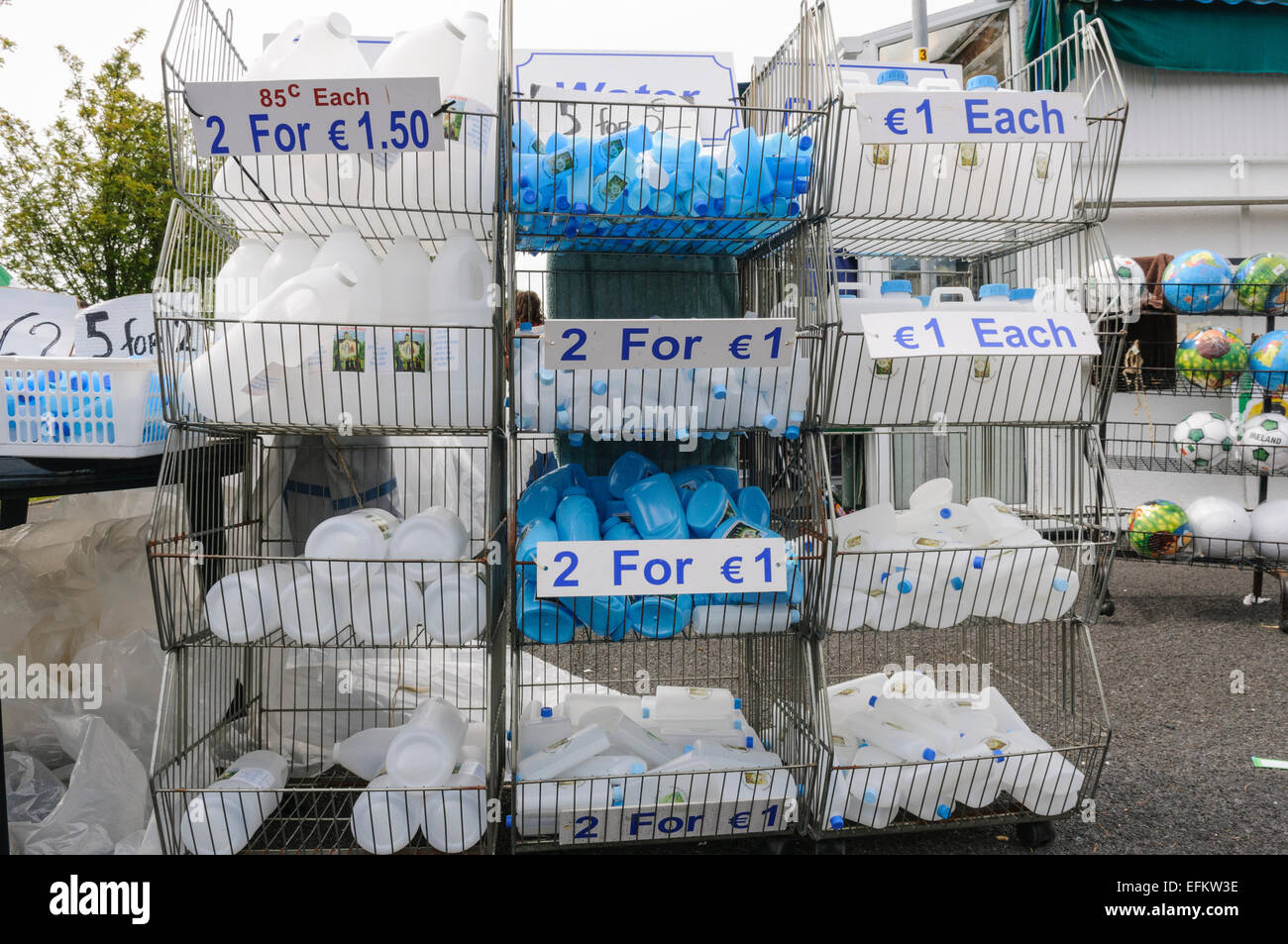 Bottles for holy water on sale at Knock, Ireland Stock Photo