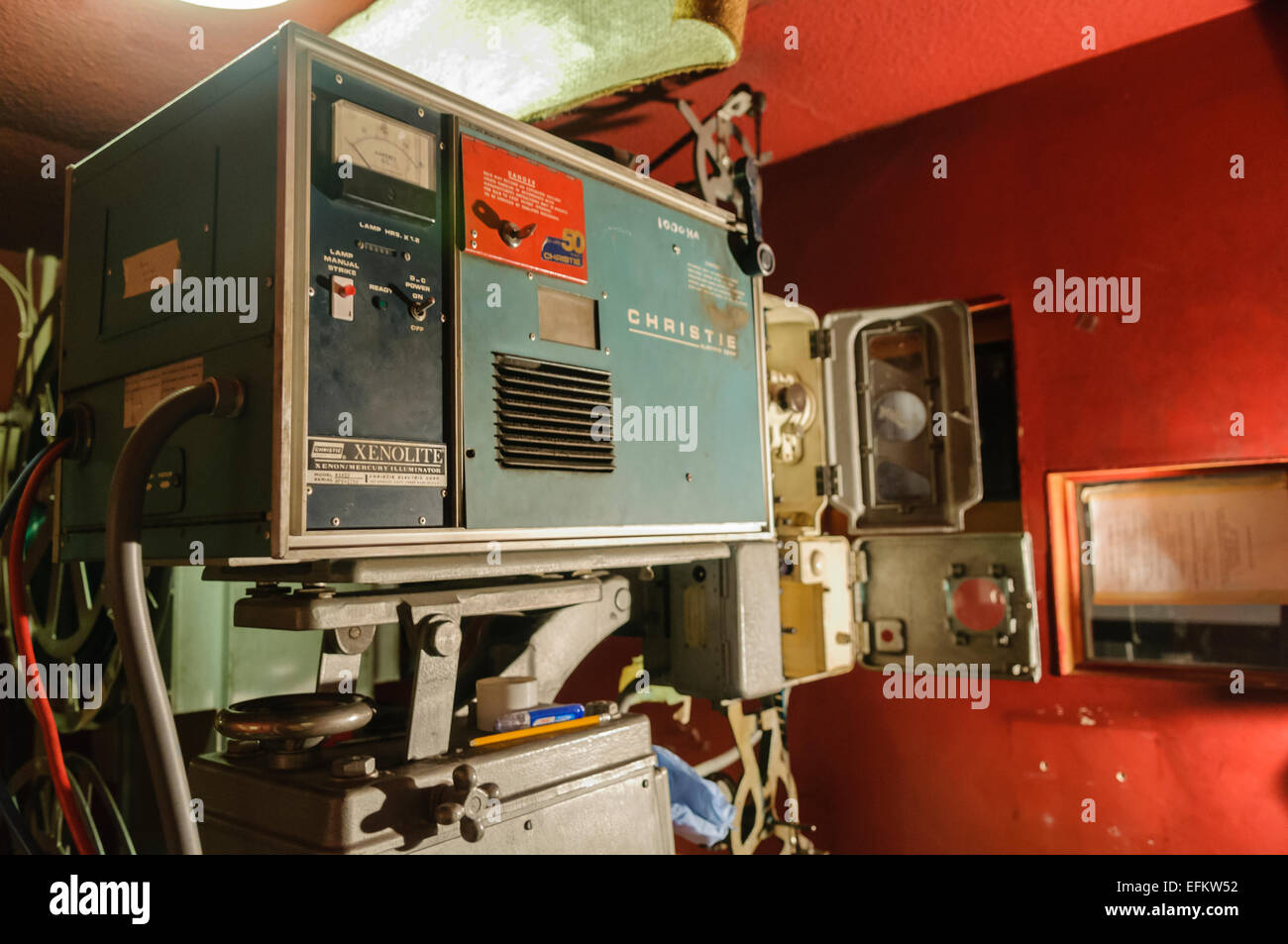 An old Christie Xenolite 45mm film projector dating from the 1950s. - Stock Image