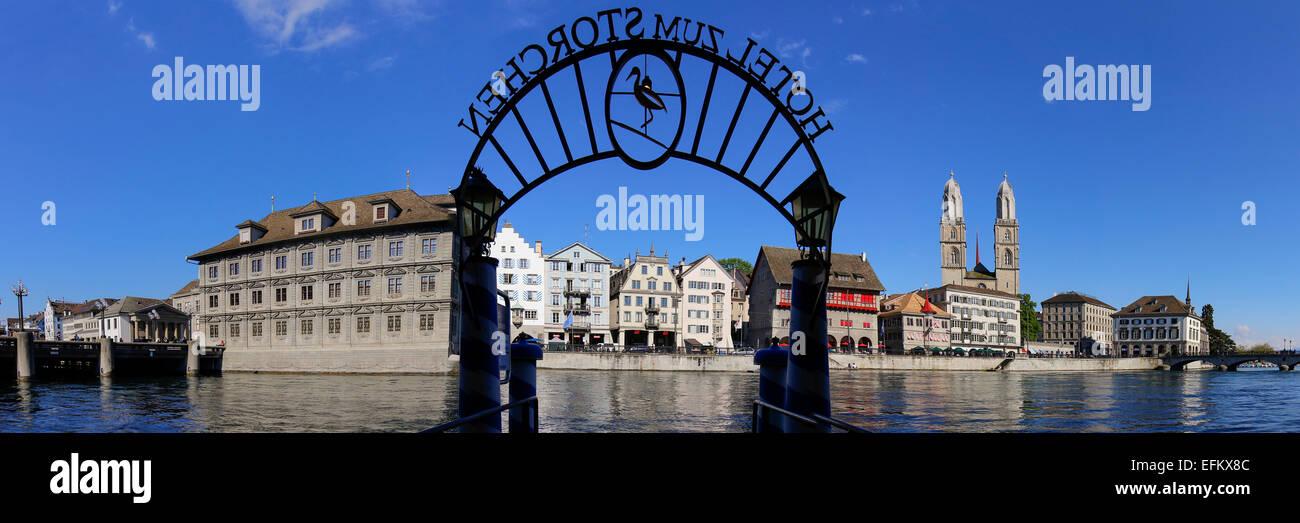 Hotel Storchen Pier, River Limmat, Panorama, Zurich - Stock Image