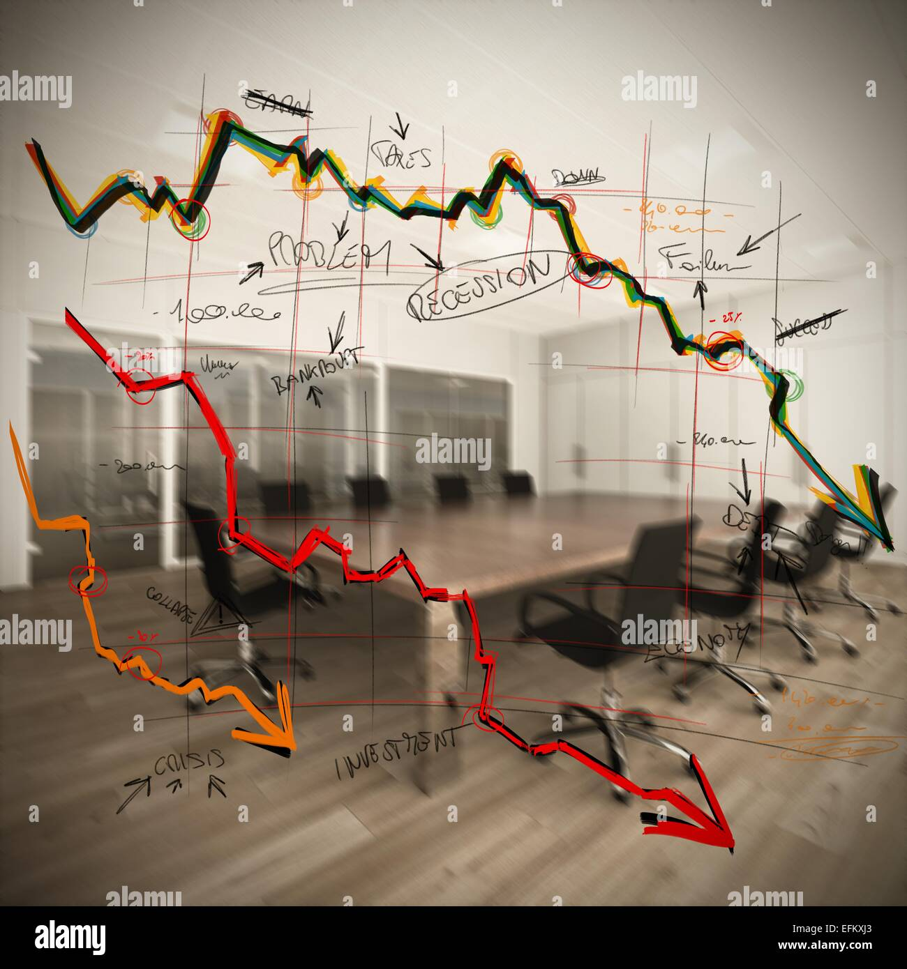 Collapse and decrease - Stock Image