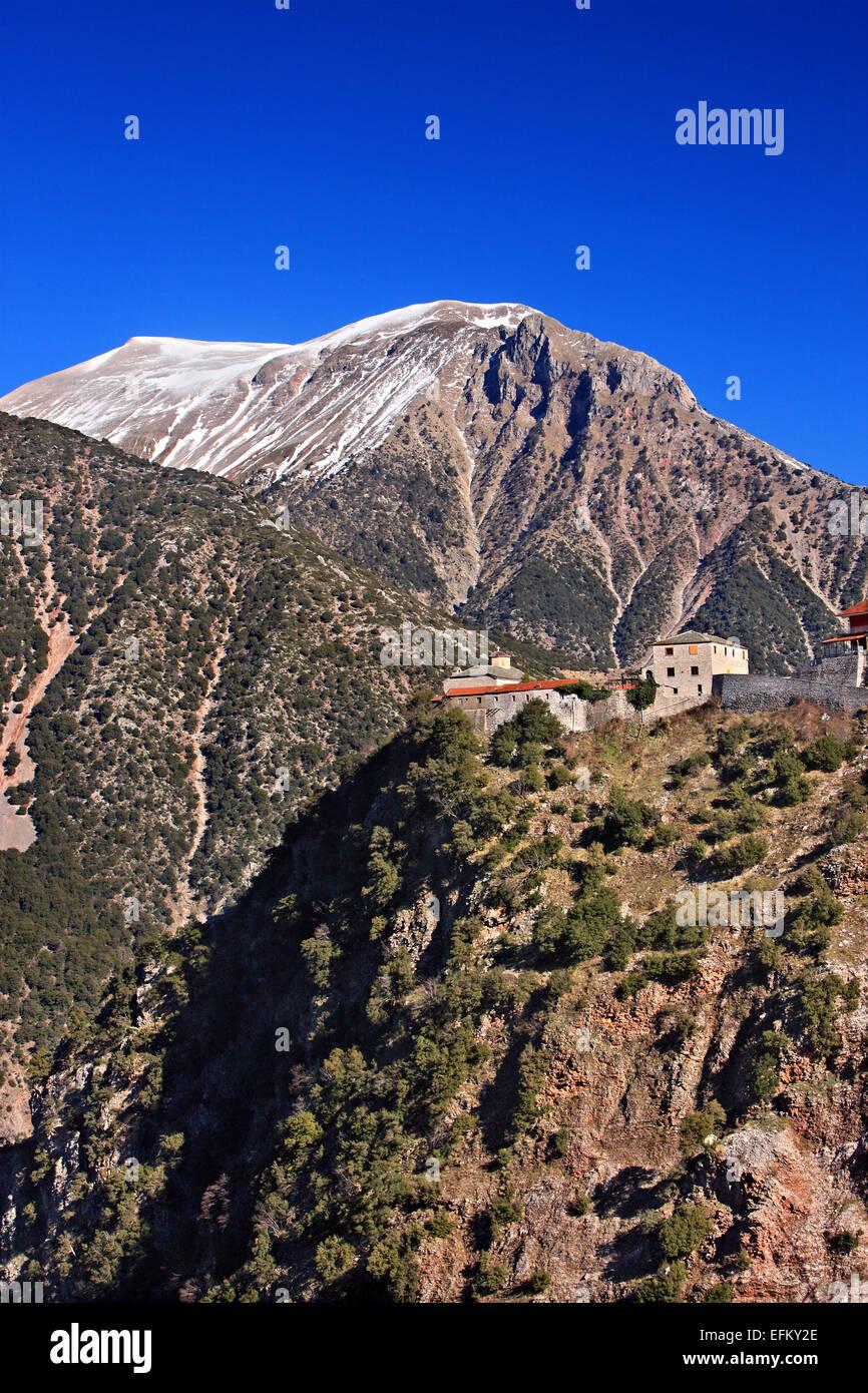The secluded Spilia monastery (probably early 17th century), East Argithea, Agrafa mountains, Karditsa, Thessaly, - Stock Image