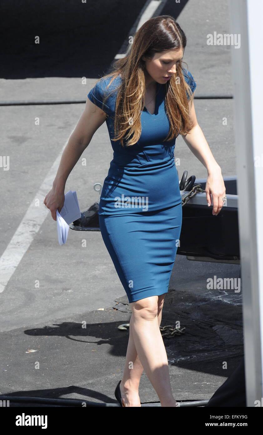 Actress Zooey Deschanel And Her New Co Star Jessica Biel