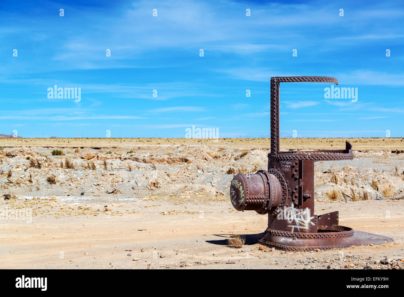 Remains of a train in the Train Cemetery in Uyuni, Bolivia Stock Photo