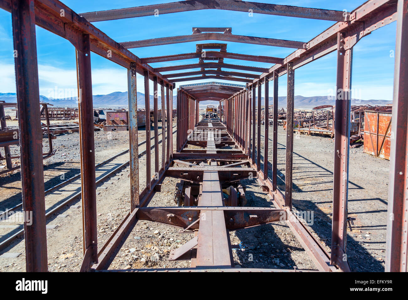 Remains of a train carriage at the Train Cemetery in Uyuni, Bolivia Stock Photo