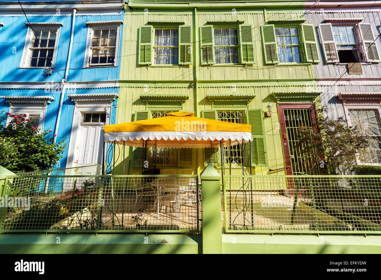 Colorful facades of old historic buildings in Valparaiso, Chile - Stock Image