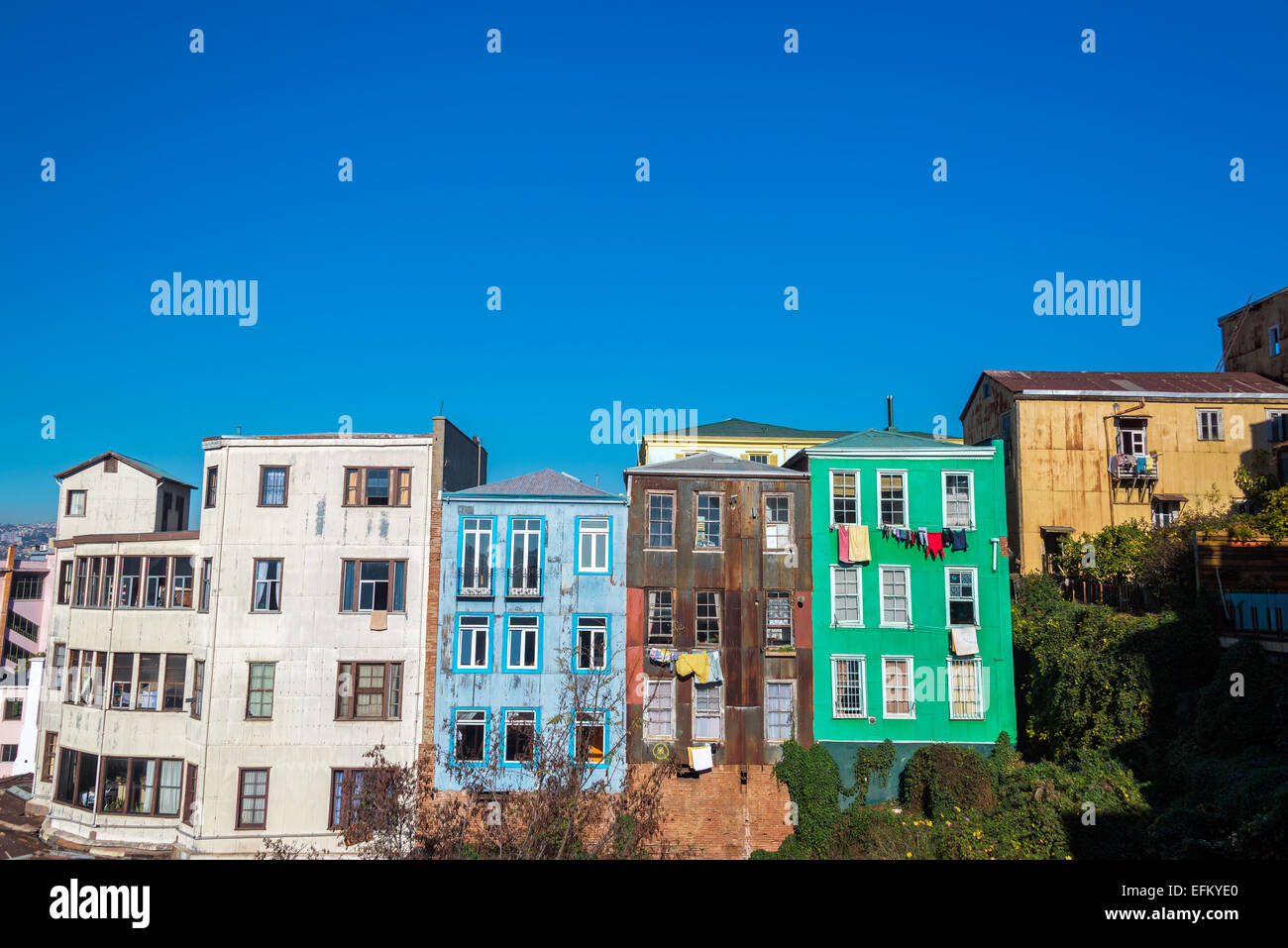 Rustic colorful houses in Valparaiso, Chile - Stock Image