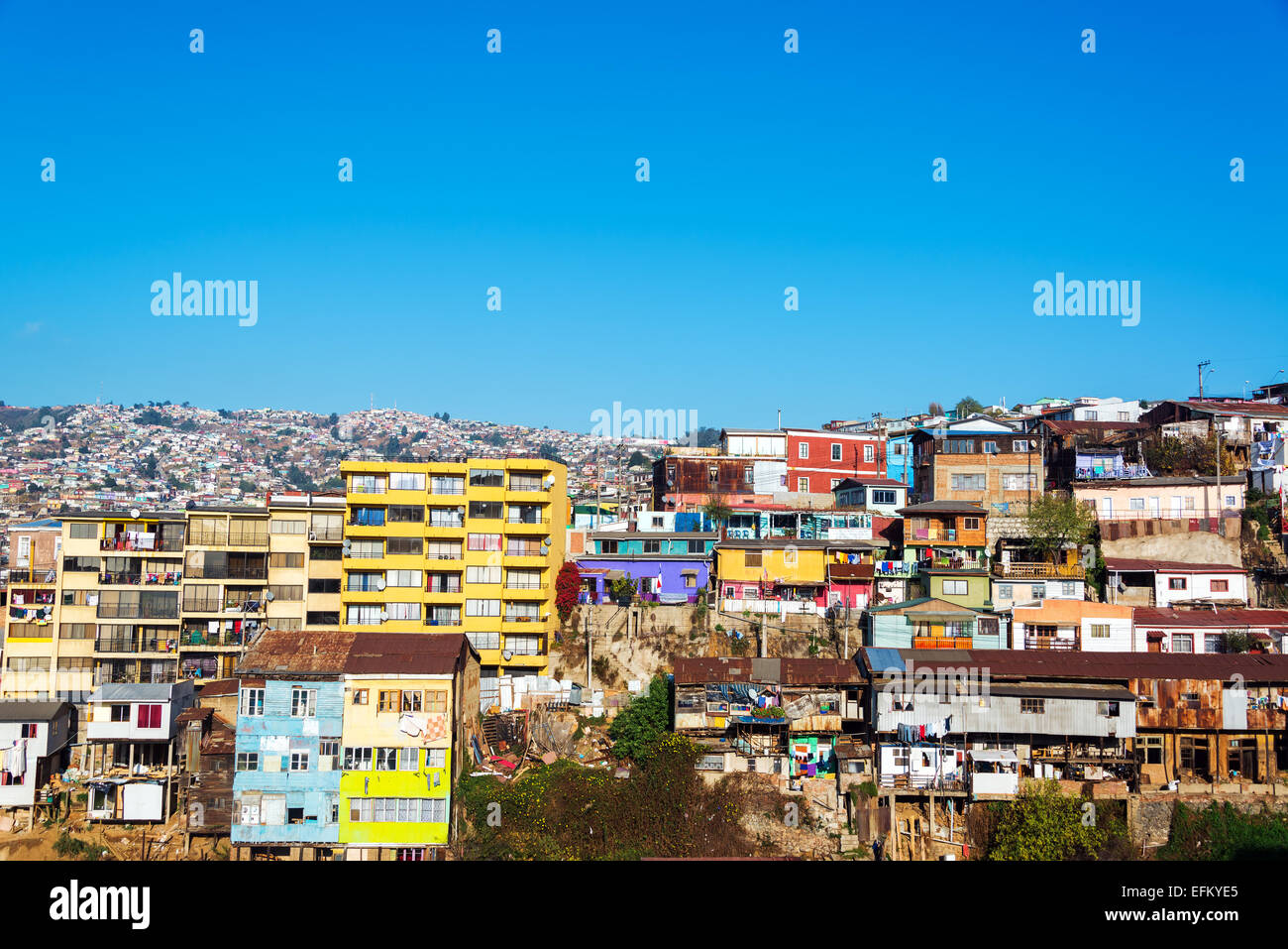 Cityscape of one of the hills in Valparaiso, Chile - Stock Image