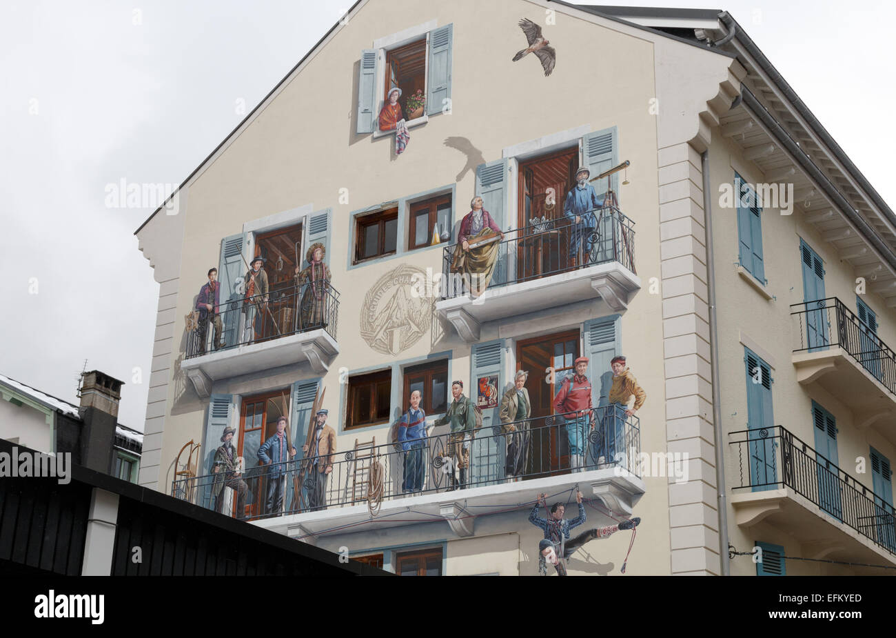 Mural painted on the wall of a building in Rue Doctier Paccard in Chamonix celebrates the Chamonix mountain guides - Stock Image