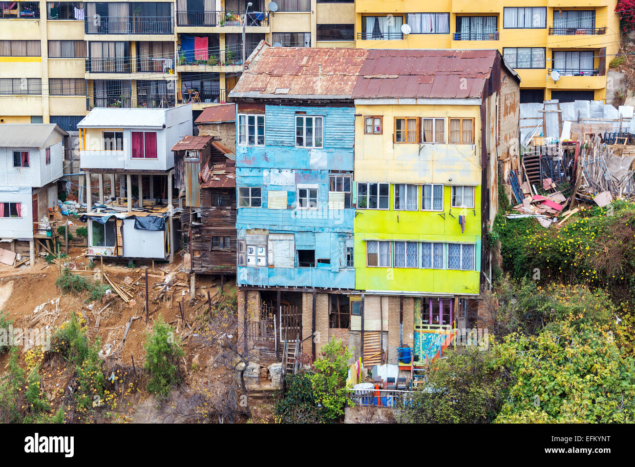 Facades of rustic houses in Valparaiso, Chile - Stock Image
