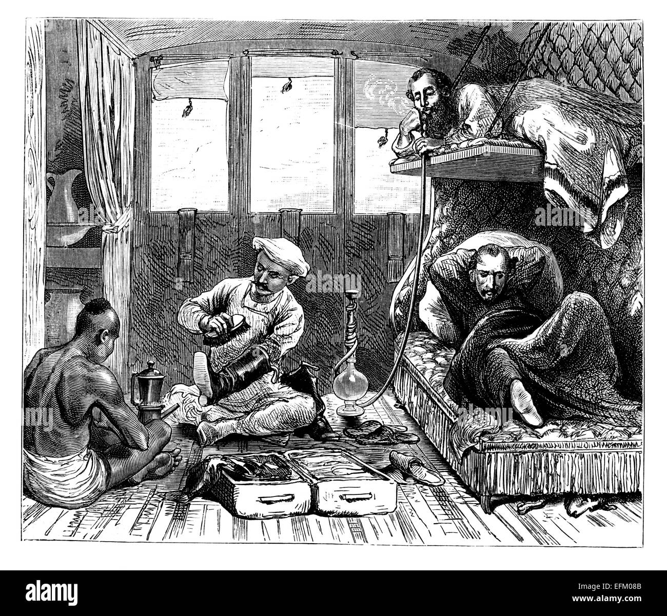 Victorian engraving of railway travellers, India. Digitally restored image from a mid-19th century Encyclopaedia. - Stock Image