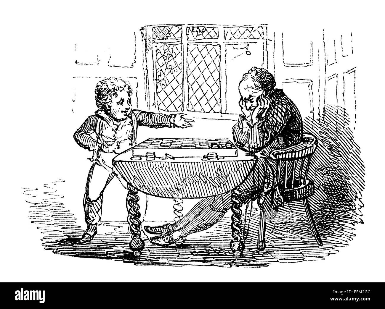 19th century engraving of a man and boy playing a game of draughts - Stock Image