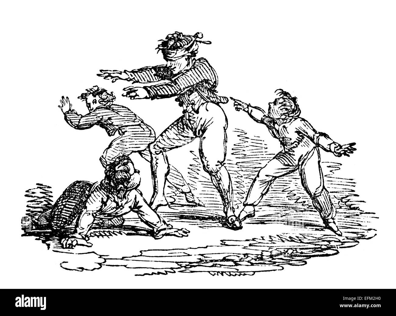 19th century engraving of children playing Blind Man's Bluff - Stock Image