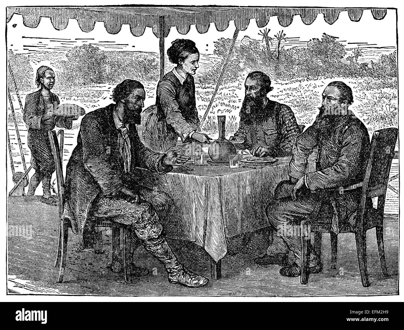 19th Century Engraving Of Men And A Women Dining Under A Tent In