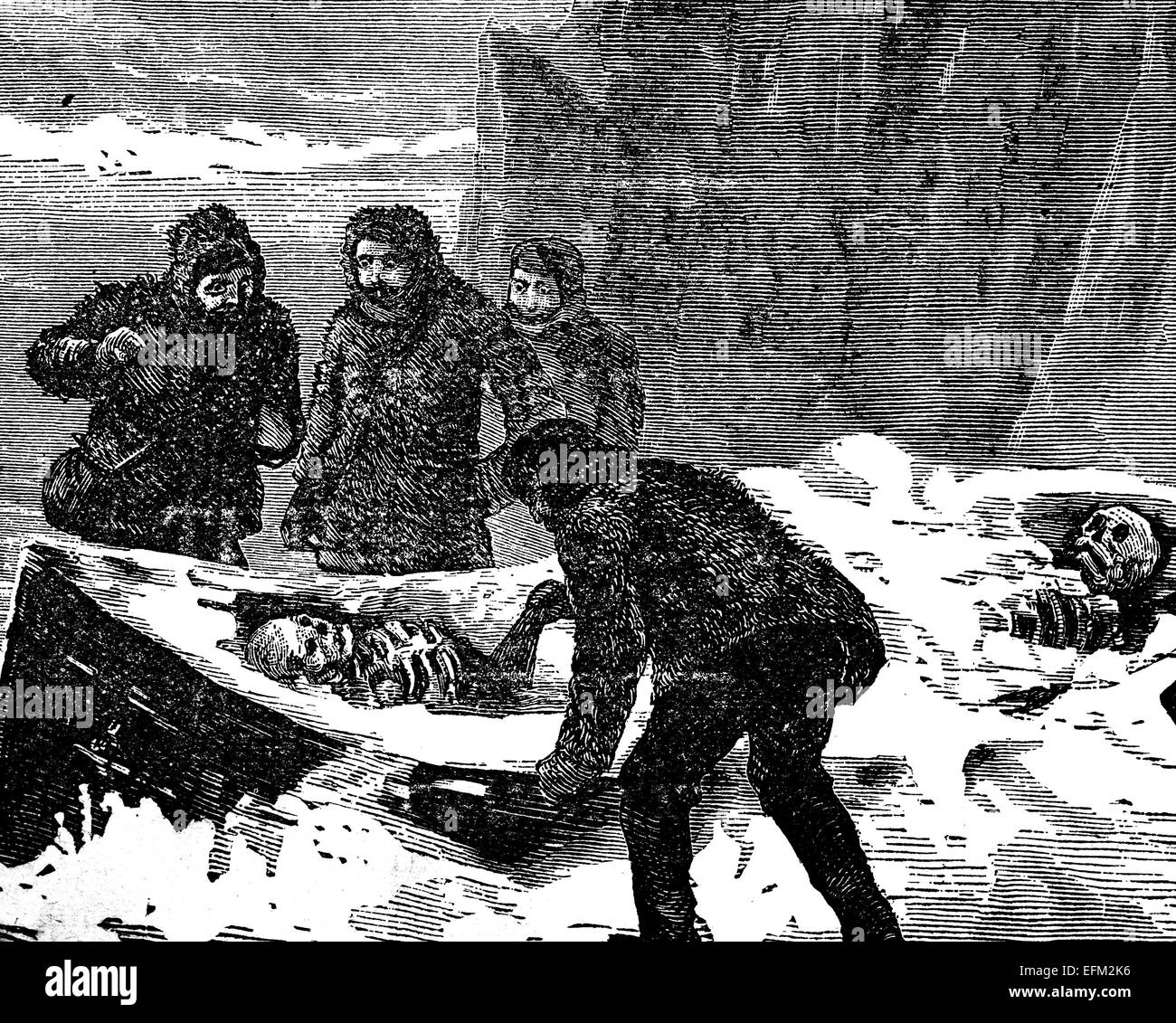 19th century engraving of explorers finding skeletons in a boat in the Northwest Passage, Arctic - Stock Image