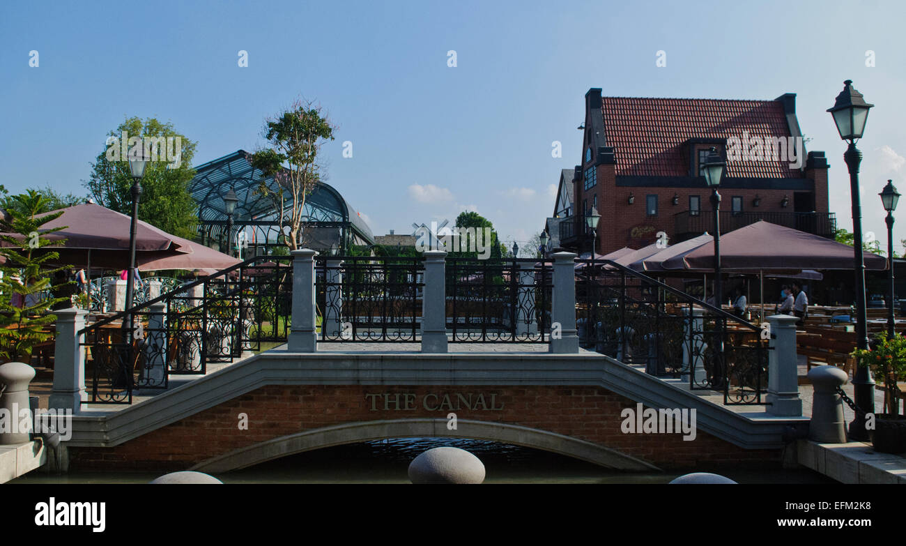 The Canal at Chocolate Ville in Bangkok, Thailand - Stock Image