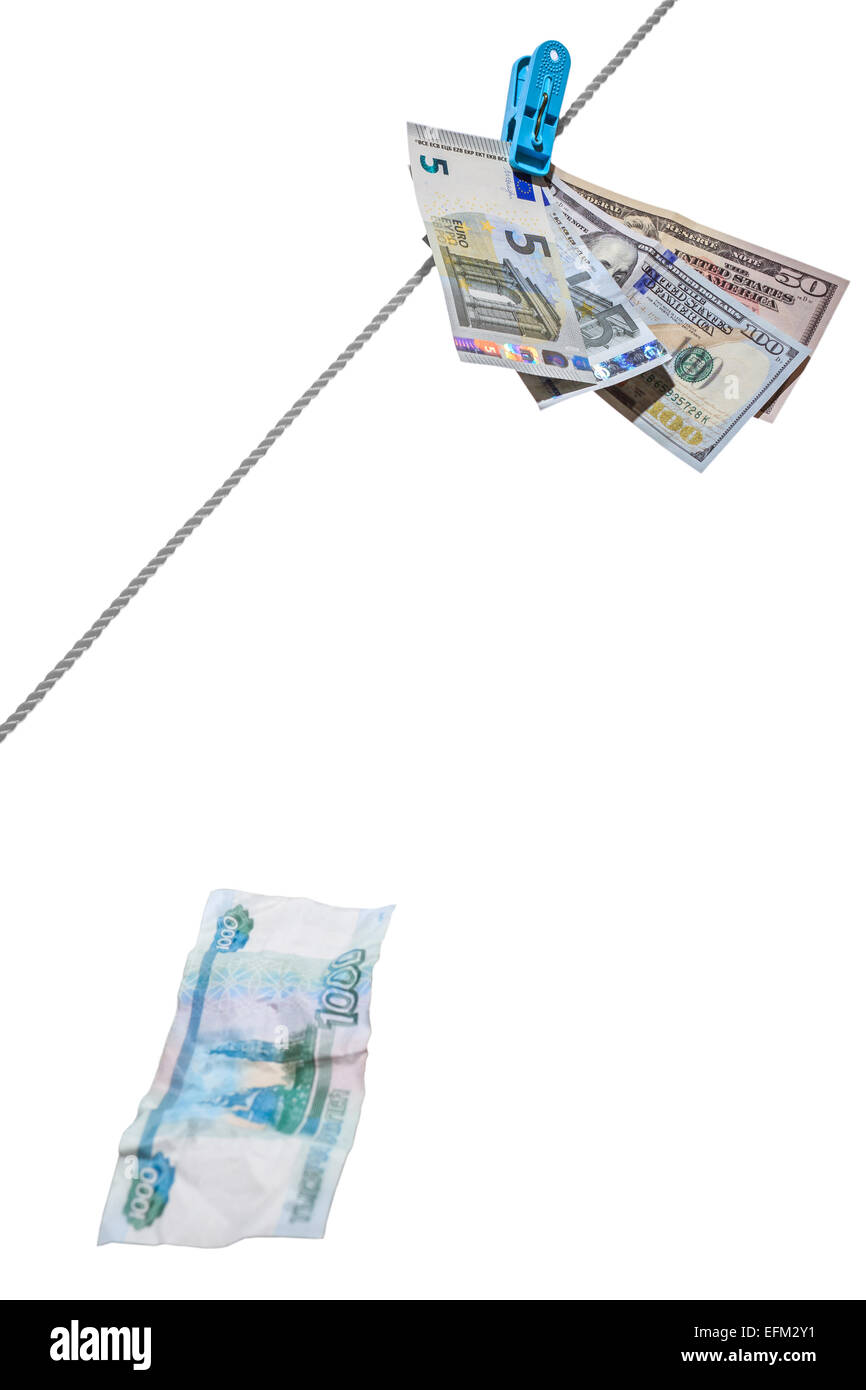 Dollars, euro and rubles Stock Photo