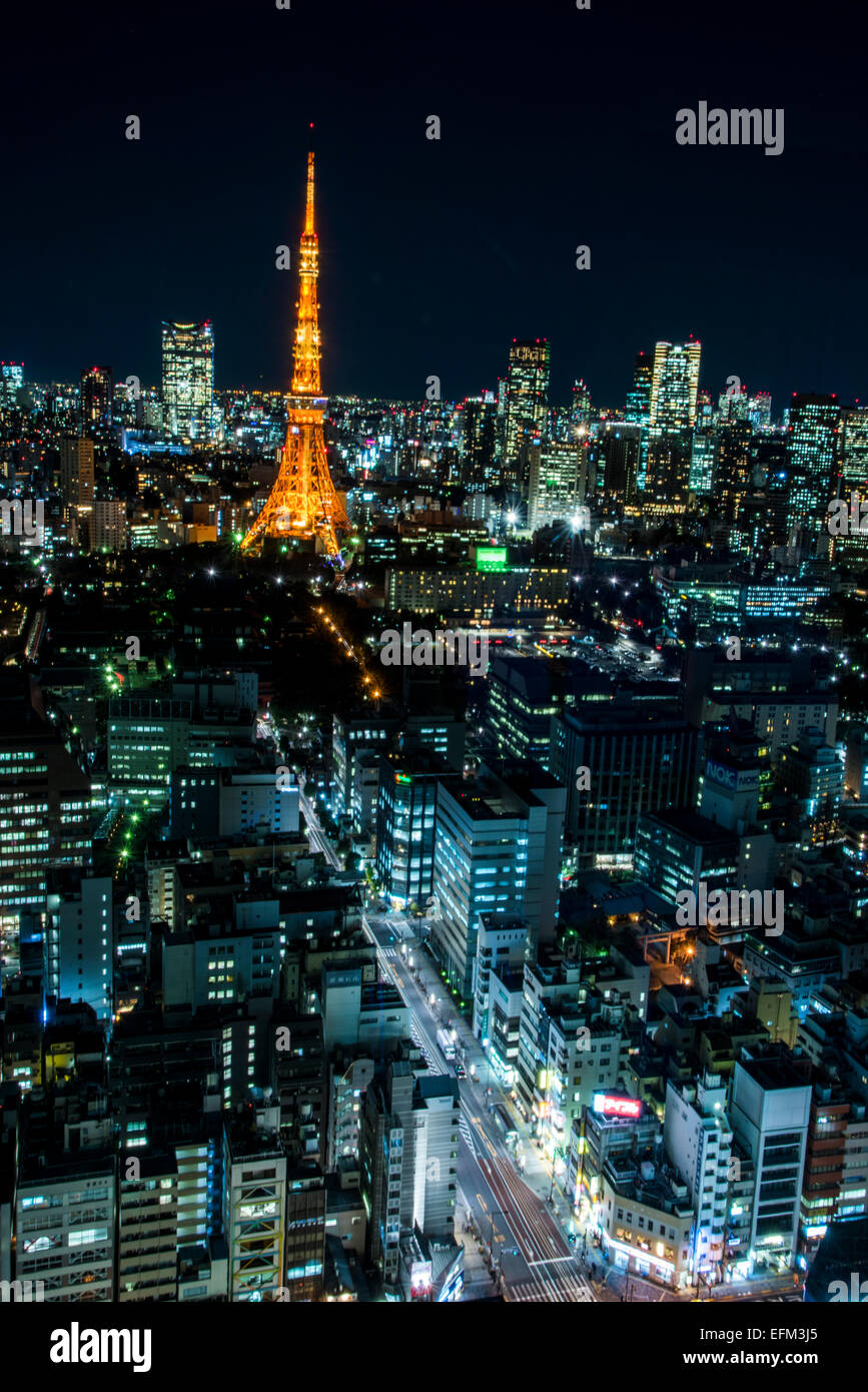 Tokyo tower,view from World Trade Center Building,Hamamatsucho,Tokyo,Japan - Stock Image