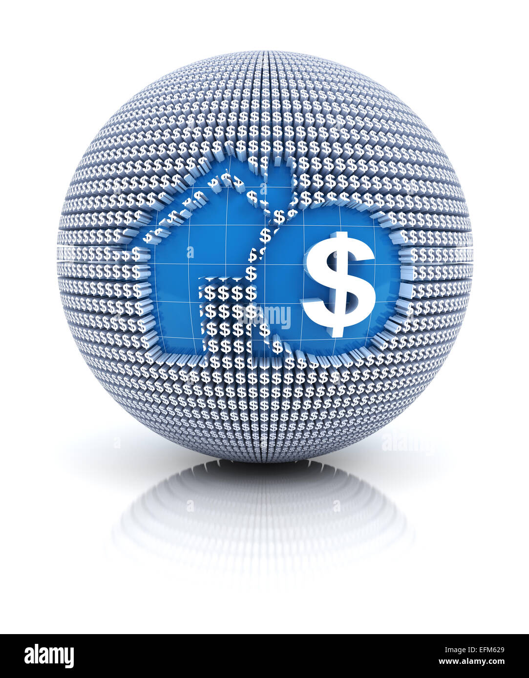 Home mortgage icon on globe formed by dollar sign, 3d render - Stock Image