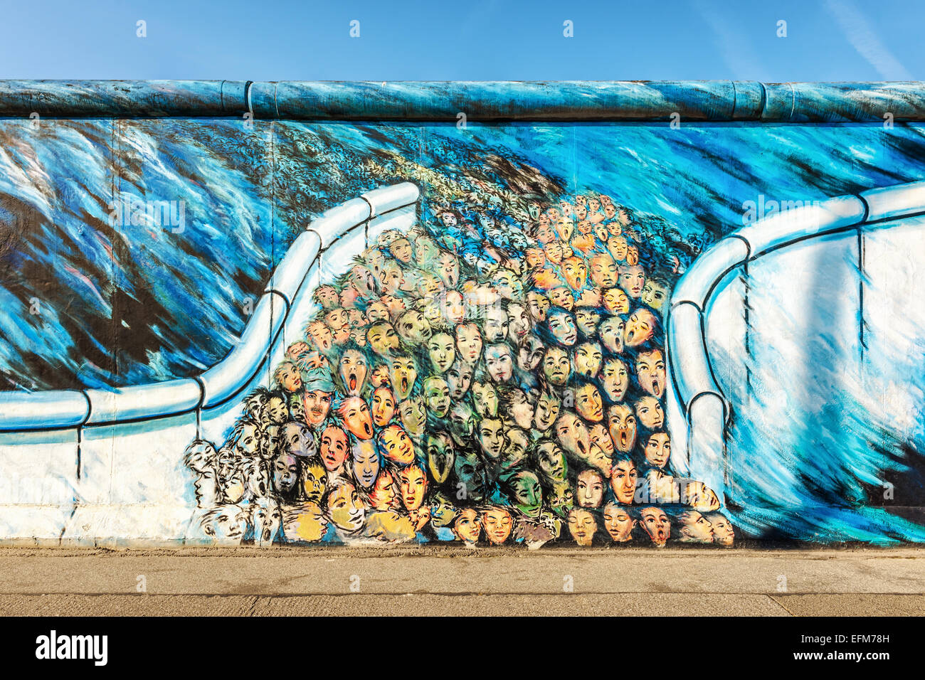 graffiti art depicting people escaping east berlin on berlin wall at stock photo 78506081 alamy. Black Bedroom Furniture Sets. Home Design Ideas