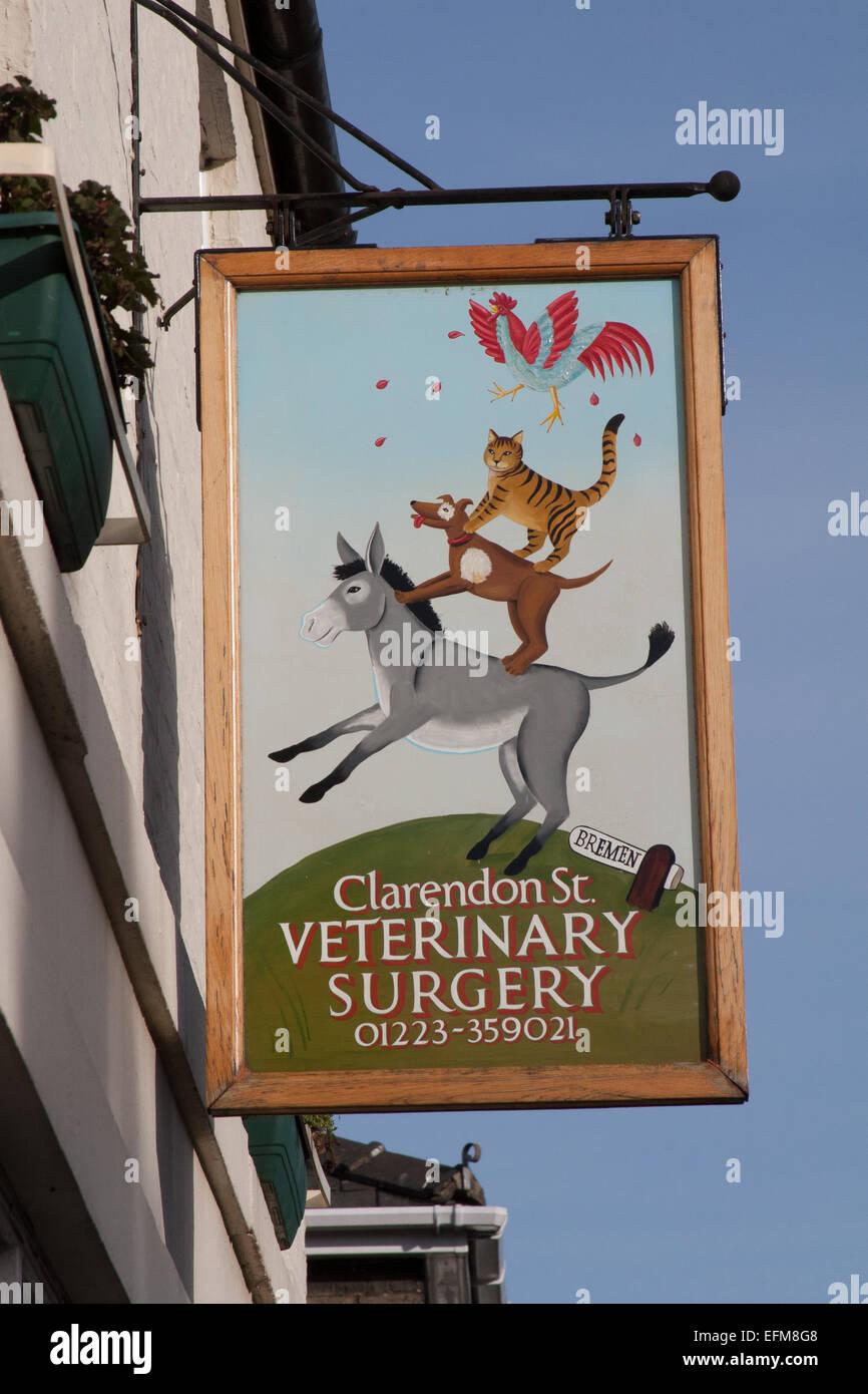 Musicians of Bremen Veterinary Practice Sign, Cambridge, UK - Stock Image