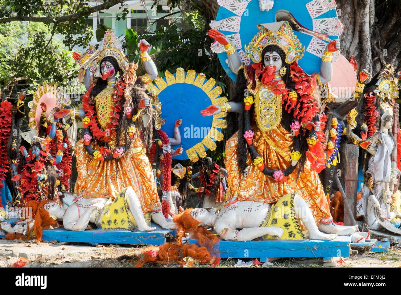 Hindu deities, models of Gods on the banks of the River Brahmaputra Assam NE India - Stock Image