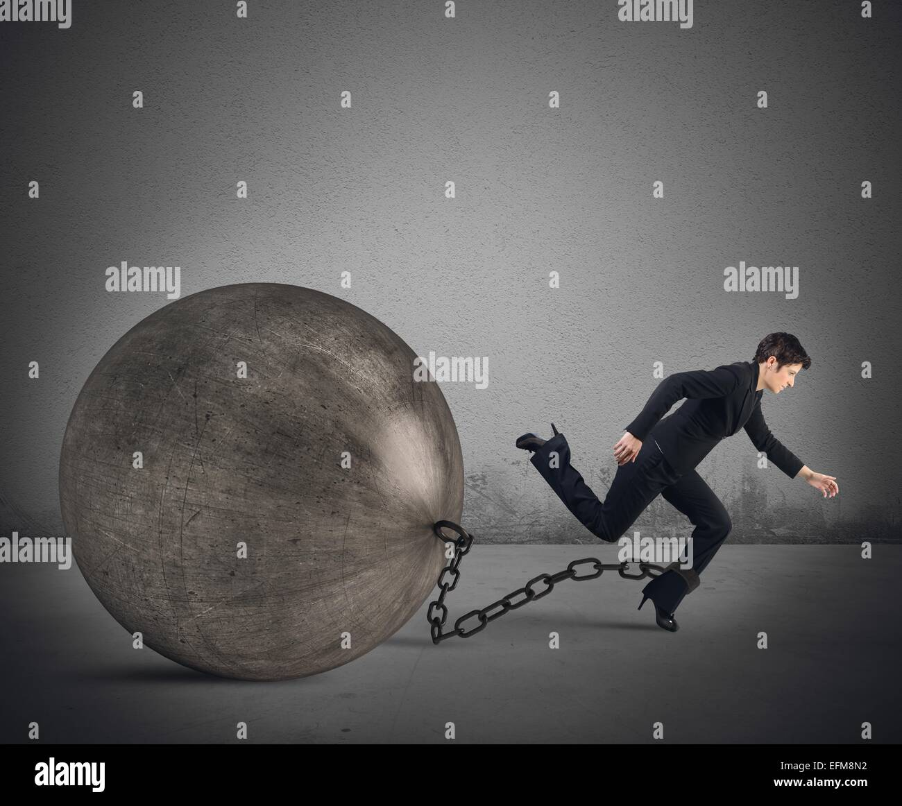 Businesswoman escape - Stock Image