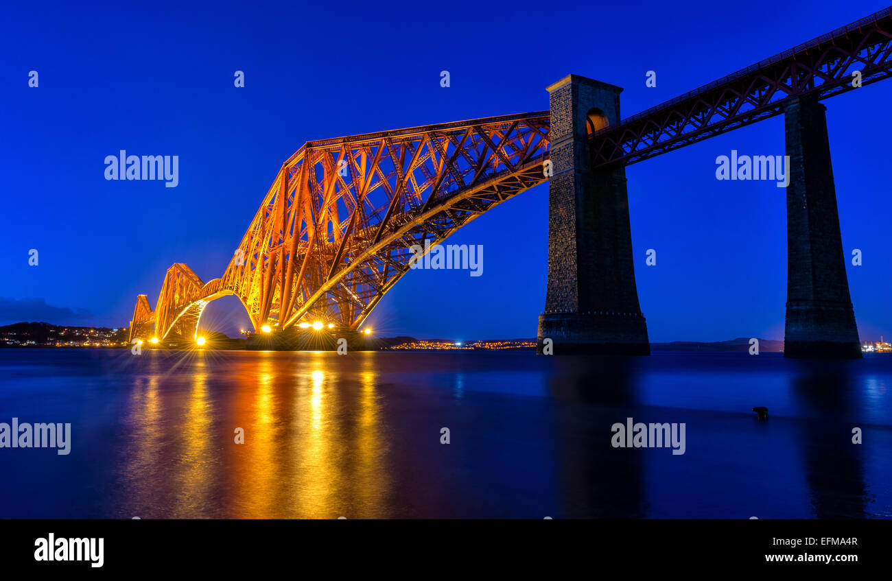Forth Rail Bridge From South Queensferry, Firth of Forth, Scotland, UK - Stock Image