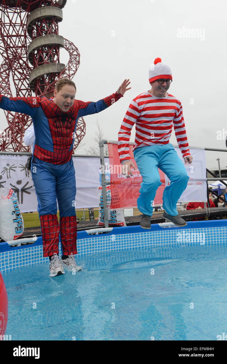 Olympic Park, Stratford, London, UK. 7th February 2015. People jump into a pool of iced water for the Polar Plunge, - Stock Image