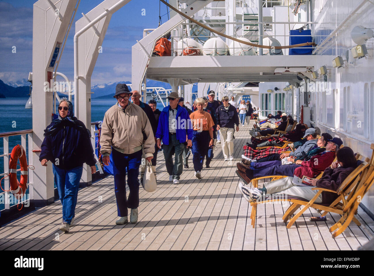 Alaska Cruise Ship Exercising On The Deck Of The Nieuw Amsterdam Stock Photo 78510874 Alamy