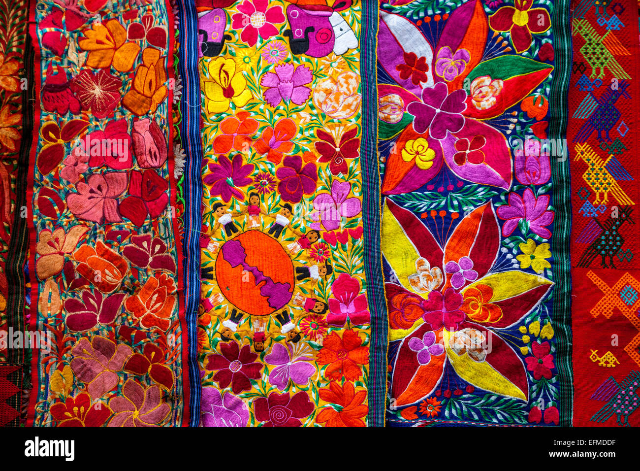 Chichicastenango, Guatemala.  Colorful Wall Hanging for Sale in the Market. - Stock Image