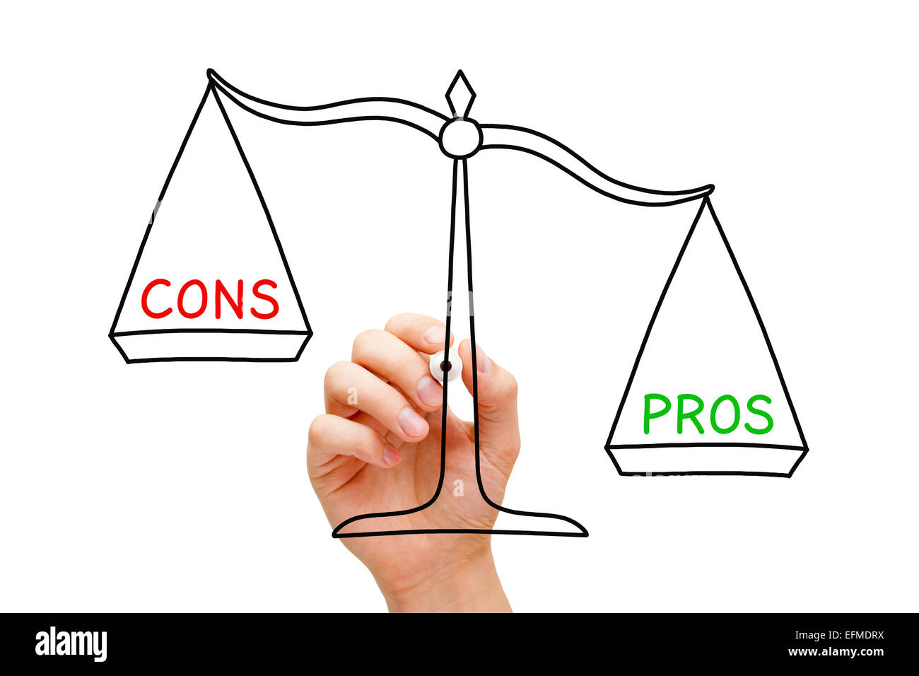 Hand drawing Pros and Cons scale concept with marker on transparent wipe board isolated on white. - Stock Image