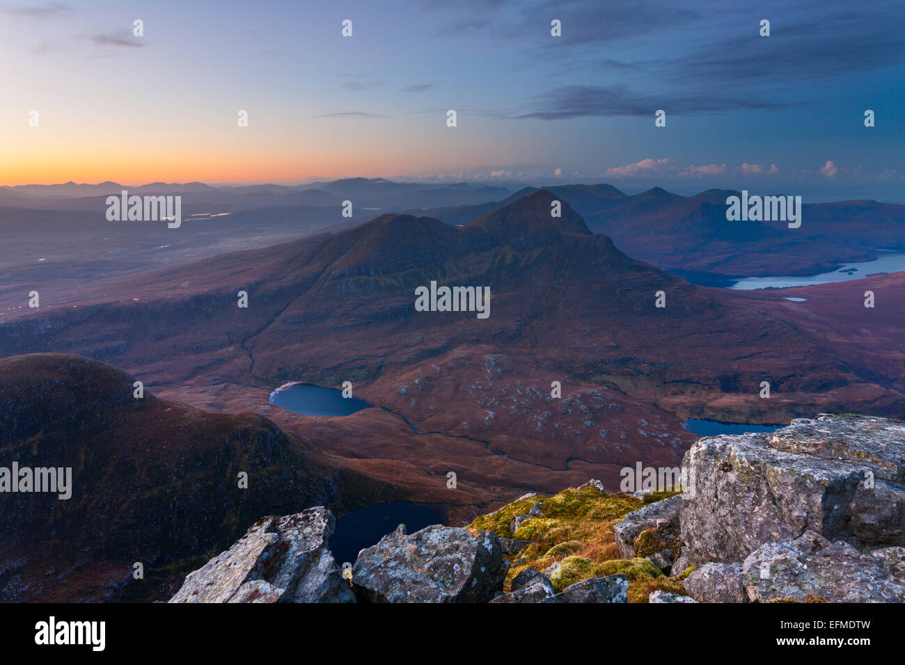 View over Cul Beag from Cul Mor, Inverpolly - Stock Image