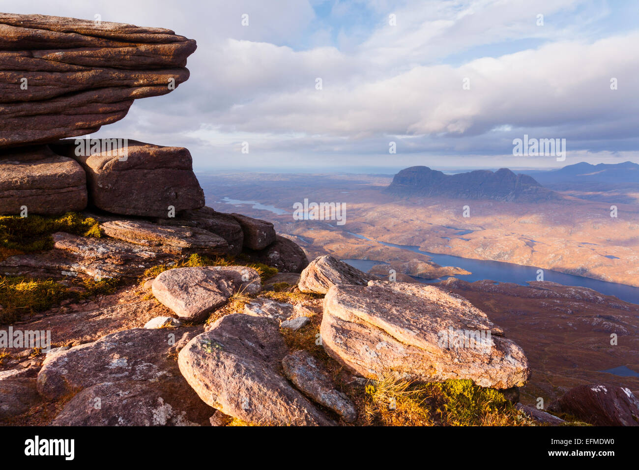 View over Suilven from the summit of Cul Mor. - Stock Image