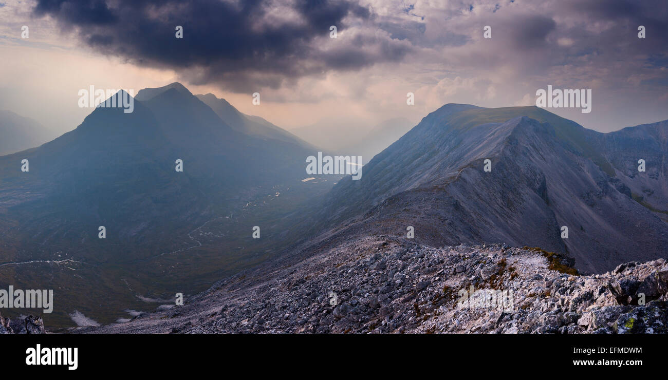The massifs of the Torridon giants Liathach and Beinn Eighe are only separated by a narrow valley - Stock Image
