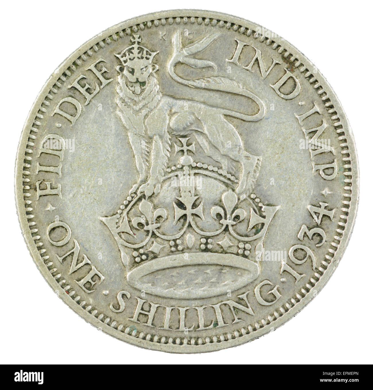 Shilling coin from King George V reign (1934 English version, tails side). Stock Photo