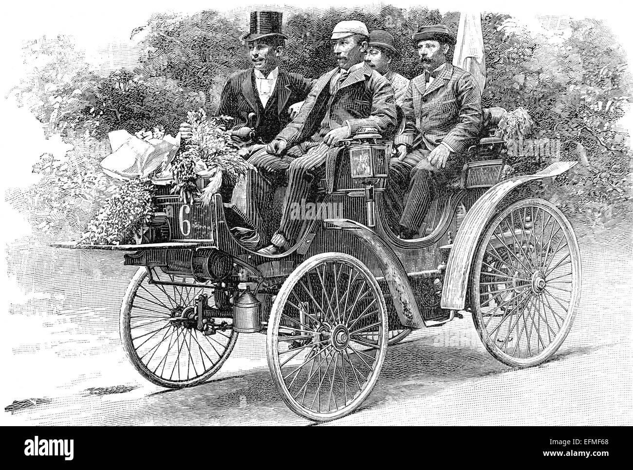 Peugeot  with A. Koechlin, car race Paris-Bordeaux-Paris, 1895, - Stock Image
