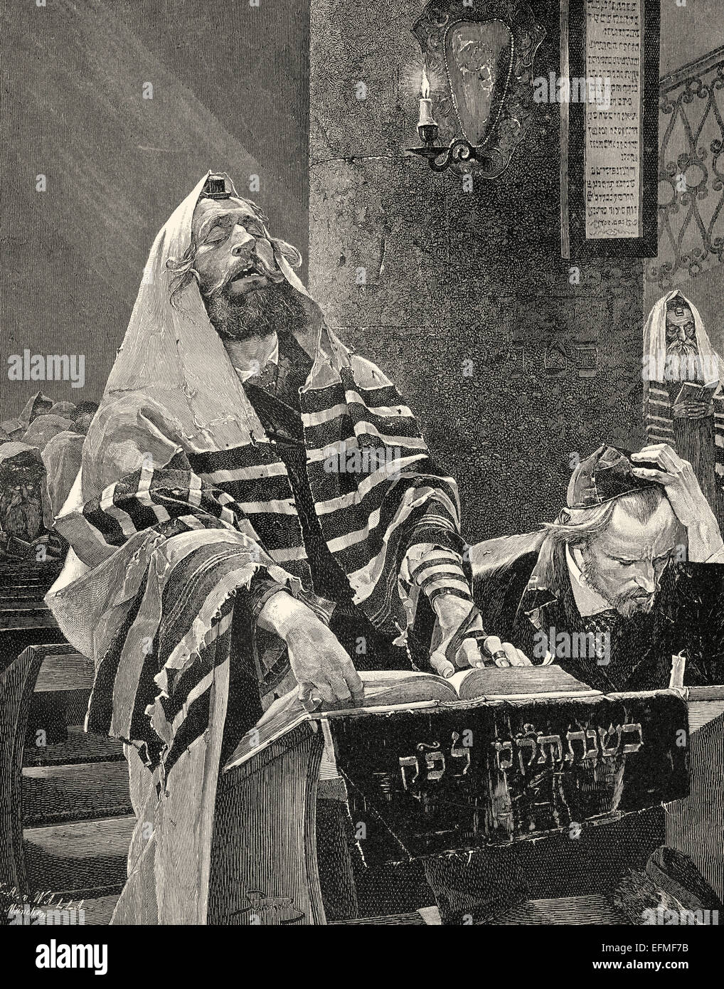 Cantor in a synagogue in Poland, c. 1890, after Grocholski - Stock Image